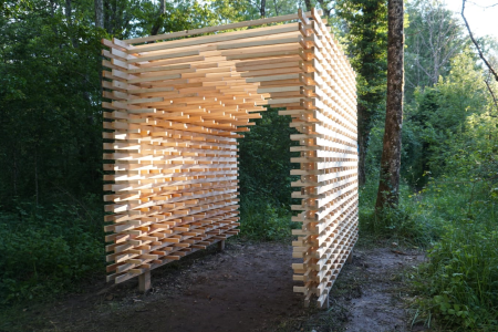 "Hut n°15 - Friede - Lépin-le-Lac ""Marais de la Gare"" - The architects : Isabelle camille TERTRAIS, Lisa BEUCHLE, Yannick BUROLD-SEGURET, Caroline BURLATS, Moritz DINKEL, Lisa SCAGLIONE, Clara SIEBEL, Mirjam KNECHT"
